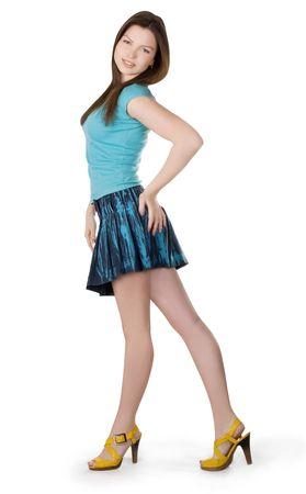 jeans skirt: Lovely brunette in denim skirt