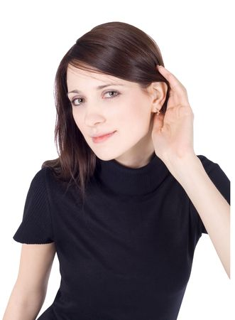 bright picture of young brunette listening gossip photo