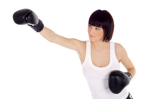 ボクシング グローブで女性の鮮やかな画像 写真素材