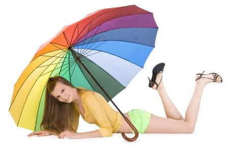 Lovely young lady posing with color umbrella Stock Photo - 7052108
