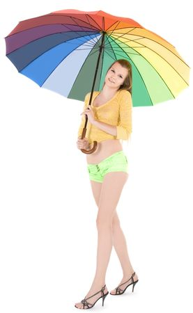 Lovely young lady posing with color umbrella Stock Photo - 7108170
