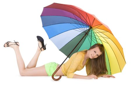 Lovely young lady posing with color umbrella Stock Photo - 7108317