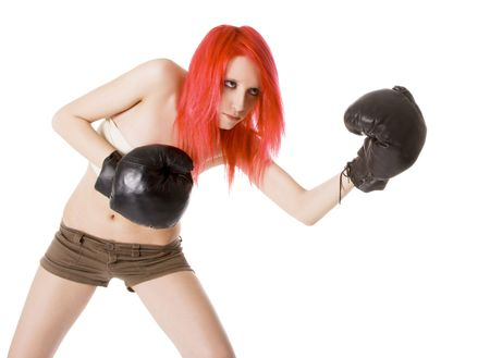 dynamically: Red-hair girl kick boxer kicked in anger shouting