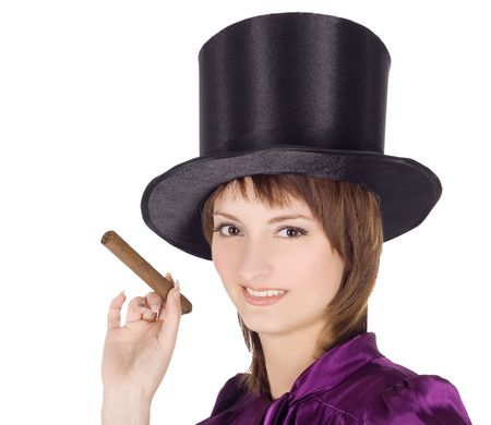 Brightly pictures of lovely girl in top hat (cylinder) Stock Photo - 7347939