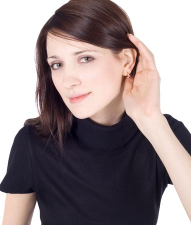 blab: bright picture of young brunette listening gossip