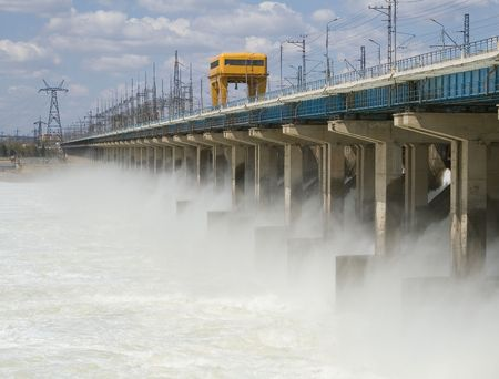 Reset of water at hydroelectric power station on the river Stock Photo - 7494713
