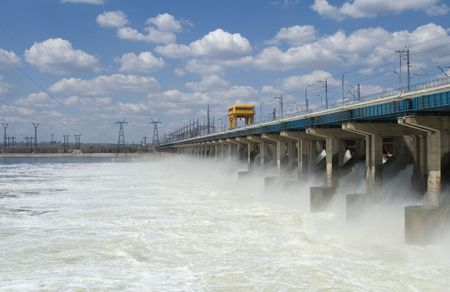 Reset of water at hydroelectric power station on the river Stock Photo - 7494717