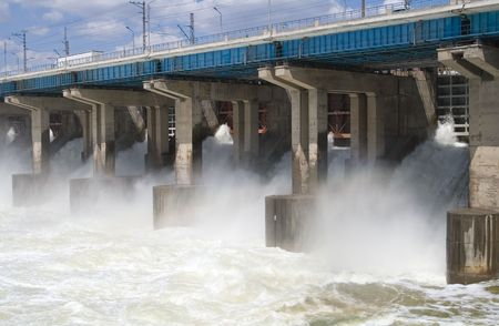 Reset of water at hydroelectric power station on the river Stock Photo - 7511544