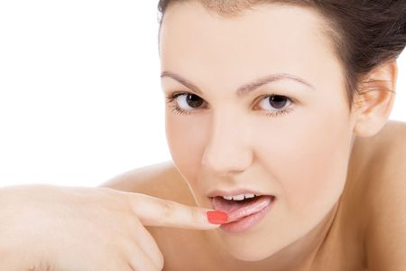 Brightly picture of sexy female face with finger in mouth photo