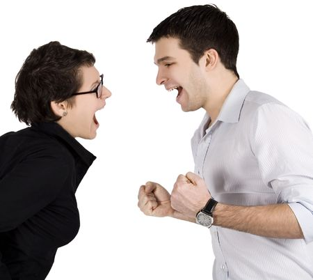Angry couple yelling at each other. photo