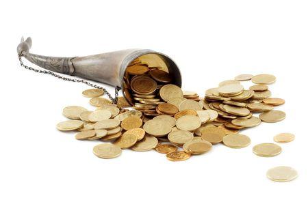 Cornucopia bone full of gold coin photo
