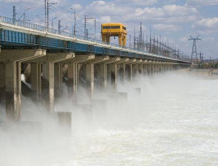 generators: Reset of water at hydroelectric power station on the river