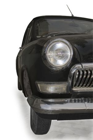 A part of vintage car isolated over white photo