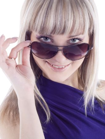 Fashion portrait of sexy, young, beautiful woman wearing sunglasses photo