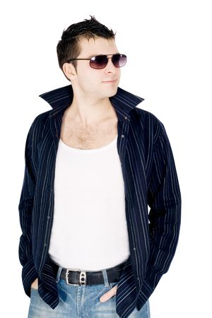 Full body portrait of a casual young man photo