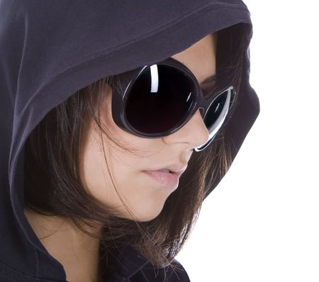 Young sexy woman in sunglasses with hood.