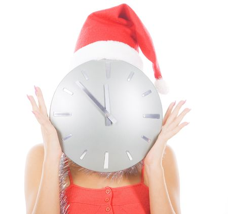 picture of woman in santa hat with big clock photo