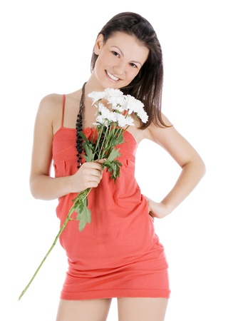 Cute female in red dress with flowers posing over white photo