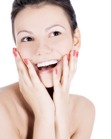Brightly picture of smiling brunette over white Stock Photo - 8380816