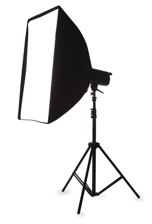 Studio strobe with softbox isolated on the white Stock Photo - 8380806