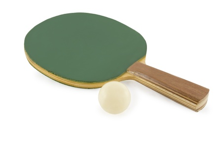 Table tennis rackets and ball isolated on white background Stock Photo - 8416283