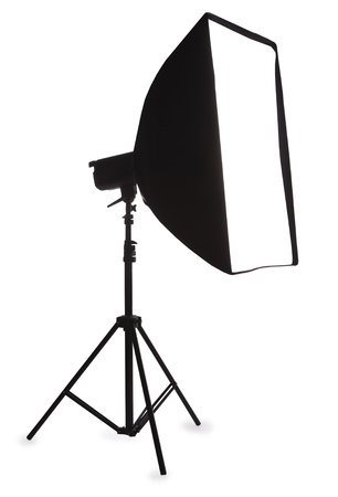 Studio strobe with softbox isolated on the white Stock Photo - 8561616