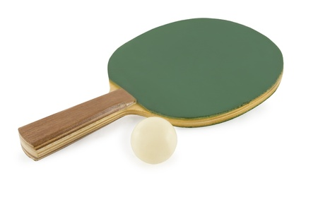 Table tennis rackets and ball isolated on white background photo