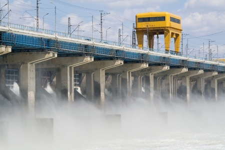 Reset of water at hydroelectric power station on the river Stock Photo - 8561648