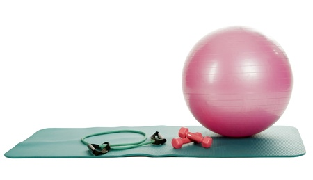 collection of fitness equipment over white Stock Photo - 8939419