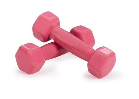 Red fitness dumbbells over white Stock Photo - 8939401