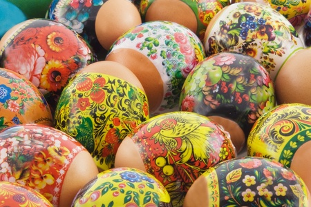 Many decorated different easter eggs background photo