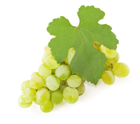Bunch of ripe yellow grapes on a white background photo