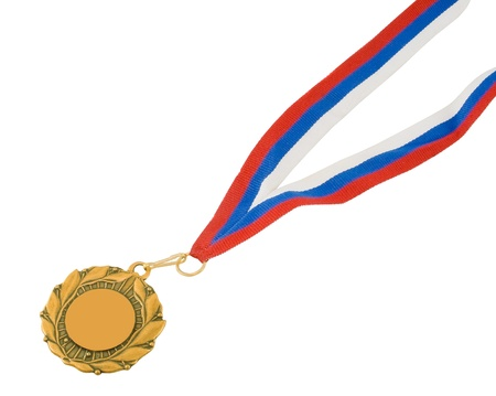 Golden medal isolated on white Stock Photo - 9011492