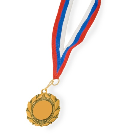 Golden medal isolated on white Stock Photo - 9077219