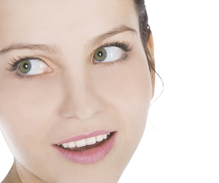 Bright picture of smiling young woman face close up  photo