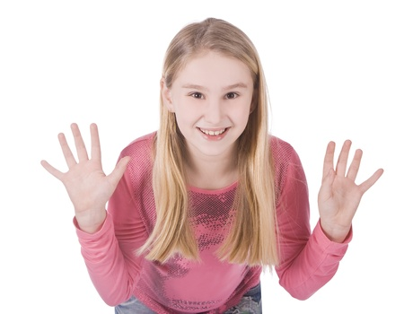 bright picture of happy young girl showing her palms photo