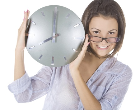 picture of woman with big clock photo