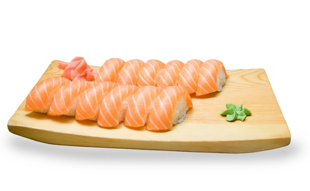 set of Japanese sushi on a wooden plate photo