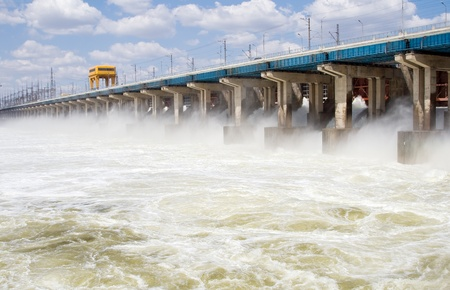 Reset of water at hydroelectric power station on the river Stock Photo - 9260928