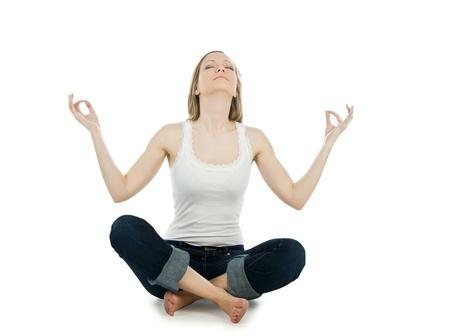 床にヨガの練習をやってかなり若い女性の肖像画