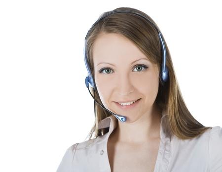 Beautiful customer service operator woman with headset Stock Photo - 9482042