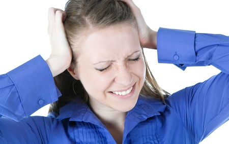 woman with headache holding her hands to the head Stock Photo - 9482137