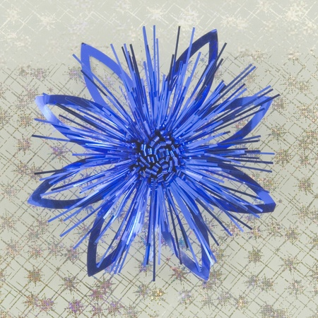 blue holiday bow on silver background photo