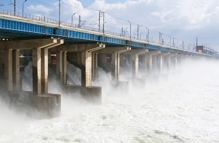 Reset of water at hydroelectric power station on the river Stock Photo - 9657086