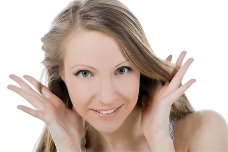 Bright picture of smiling woman face with hand her hear photo