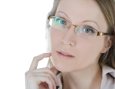 Beautiful woman with glasses isolated over a white background photo