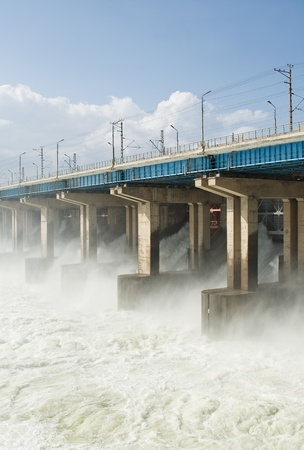 Reset of water at hydroelectric power station on the river Stock Photo - 9727530