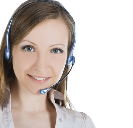 Beautiful customer service operator woman with headset Stock Photo - 9844548