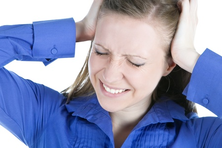 woman with headache holding her hands to the head Stock Photo - 9844588