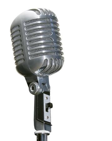 microfono antiguo: micr�fono de chrome retro aislado en blanco